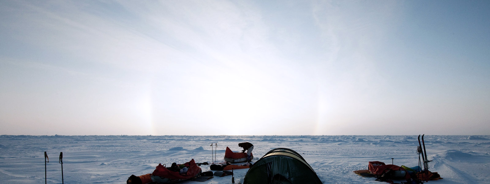 arctic landscape with arctic researchers
