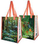 Two Amazon rain forest grocery tote bags with orange handles