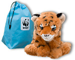Tiger plush with blue adoption bag