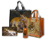 Two reusable tiger totes and an aluminum water bottle