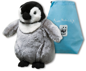 Emperor penguin chick plush and Mother's Day gift bag