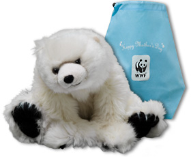 Polar bear plush and Happy Mother's Day gift bag