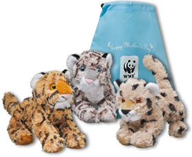 Three plush cubs with Happy Mother's Day gift bag
